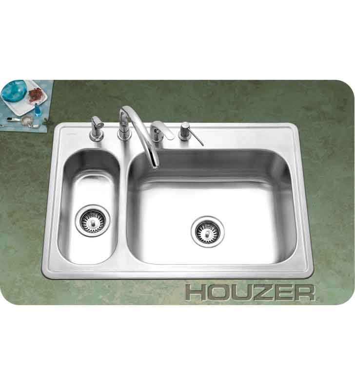 Houzer LHD-3322-1 Self Rimming 80 / 20 Large Right Basin Kitchen Sink