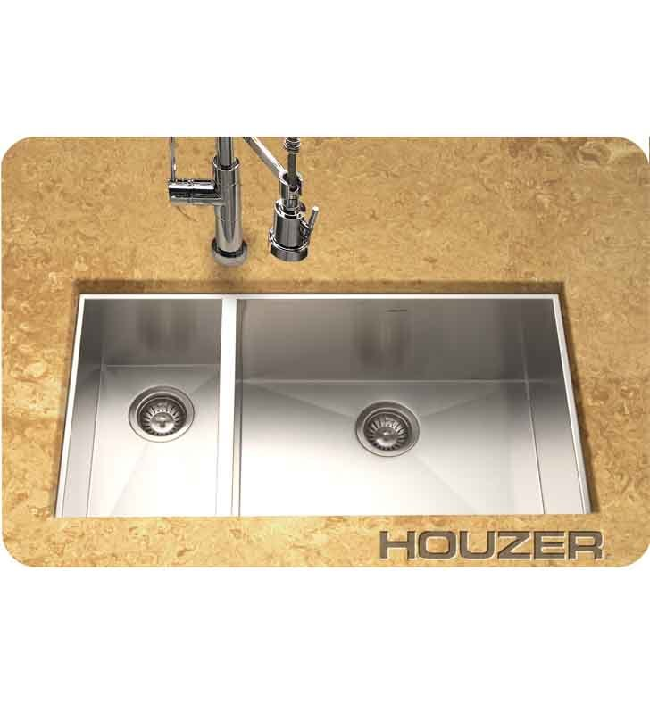 Houzer CTO-3370SL Undermount 70 / 30 Large Right Basin Kitchen Sink