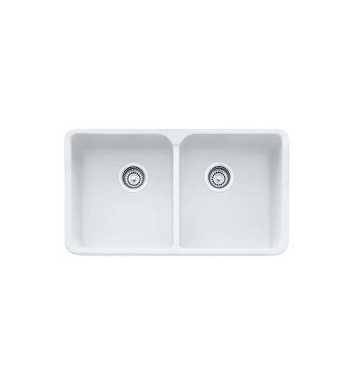 Franke MHK720-31MW Manor House Double Basin Farmhouse Fireclay Kitchen Sink in Matte White