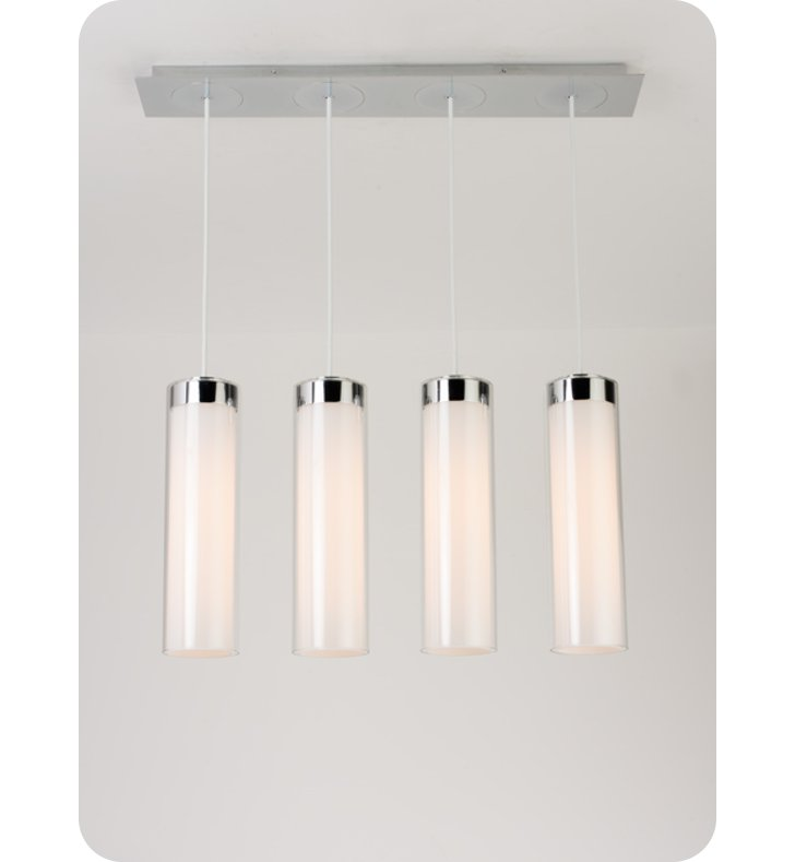 Ayre CIRPL4D-P-SO-CL-PN-LED Circ 4 Light Linear Multi Pendant with Droplet Canopy With Finish: Polished Nickel And Lamping Type: LED
