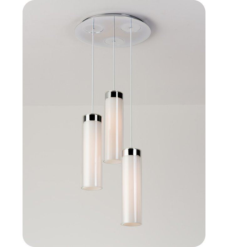 Ayre CIRPR3D-P-SO-CL-CH-LED Circ 3 Light Round Multi Pendant with Droplet Canopy With Finish: Polished Chrome And Lamping Type: LED