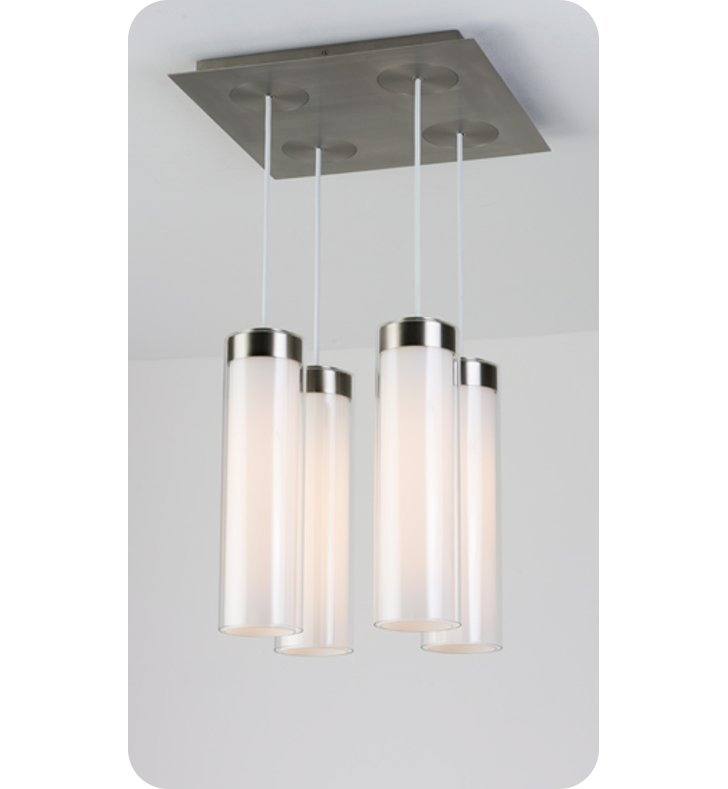 Ayre CIRPS4D-P-SO-CL-PN-LED Circ 4 Light Square Multi Pendant with Droplet Canopy With Finish: Polished Nickel And Lamping Type: LED