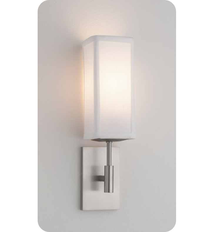 Ayre DIS1-A-WS-PN-LED District ADA Wall Sconce Light with White Shantung Diffuser With Finish: Polished Nickel And Lamping Type: LED