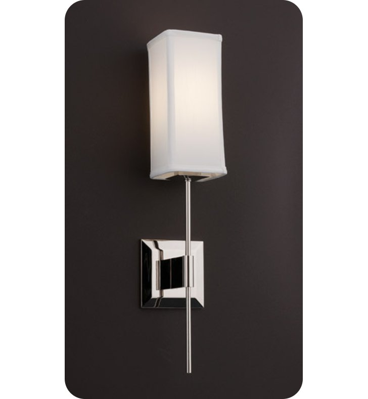 Ayre DIS2-S-WS-PN-LED District Wall Sconce Light with White Shantung Diffuser With Finish: Polished Nickel And Lamping Type: LED