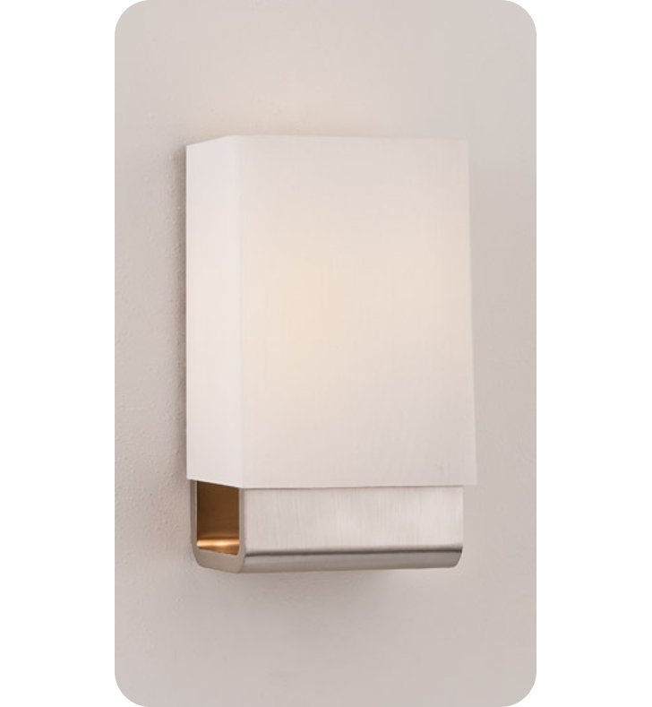 Ayre KYO1-A-WS-BN-FL Kyoto ADA Wall Sconce Light with White Shantung Diffuser With Finish: Brushed Nickel And Lamping Type: Fluorescent