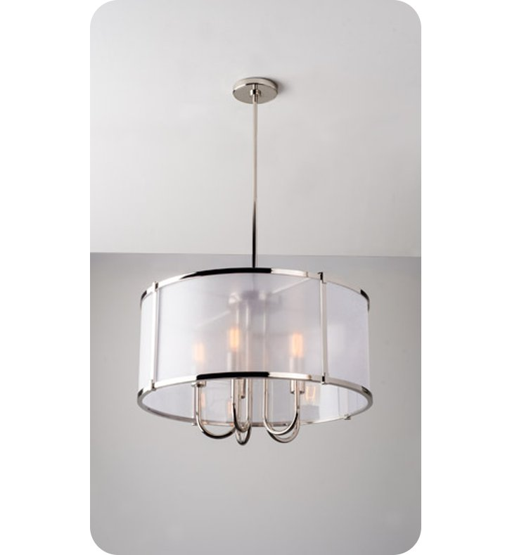 Ayre LOP24-P-GB-CH-LED Litebox Open Pendant Light with Customizable Diffuser With Finish: Polished Chrome And Lamping Type: LED And Diffuser: Organza Black Fabric