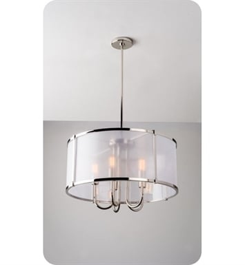 Ayre LOP24-P-GS-PN-LED Litebox Open Pendant Light with Customizable Diffuser With Finish: Polished Nickel And Lamping Type: LED And Diffuser: Organza Silver Fabric