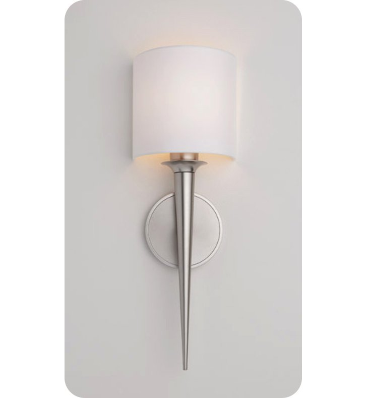 Ayre MET1-A-WS-PN-FL Metro ADA Wall Sconce Light with White Shantung Diffuser With Finish: Polished Nickel And Lamping Type: Fluorescent