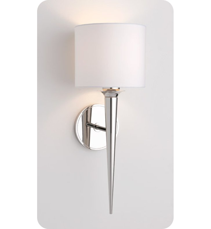 Ayre MET2-S-WS Metro Wall Sconce Light with White Shantung Diffuser