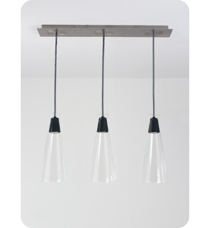 Ayre NAKPL3D-P-CL Naked Linear Three Light Pendant with Droplet Canopy