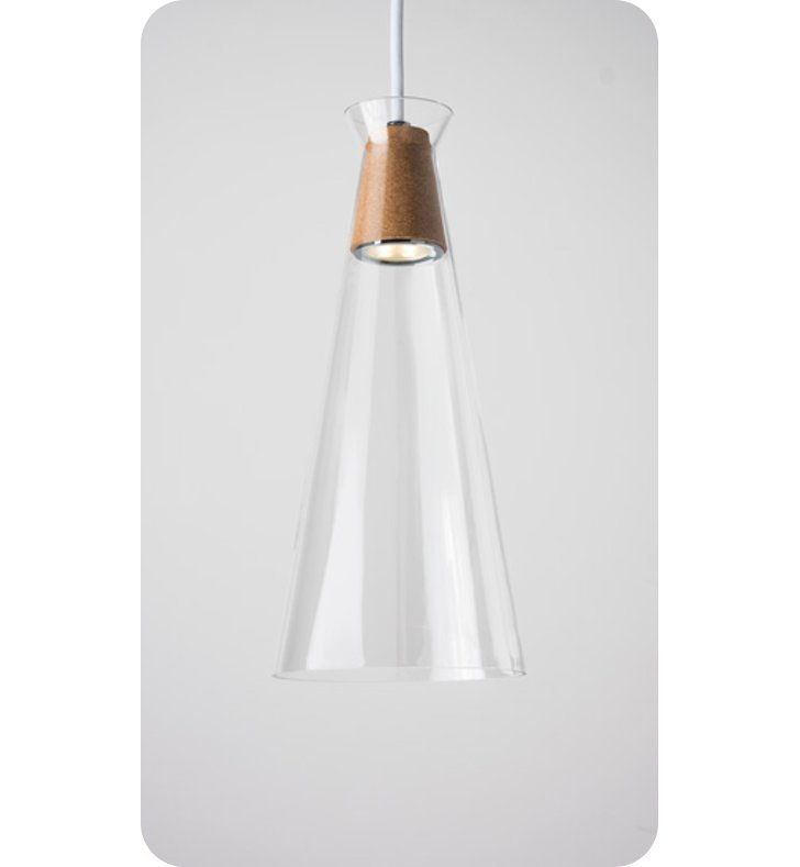 Ayre NAK1-P-CL-CH-CK-WC-LED Naked Single Light Pendant with Clear Glass Diffuser With Lamping Type: LED And Configuration: Polished Chrome Fixture | Clear Glass / Cork Diffuser | White Chord