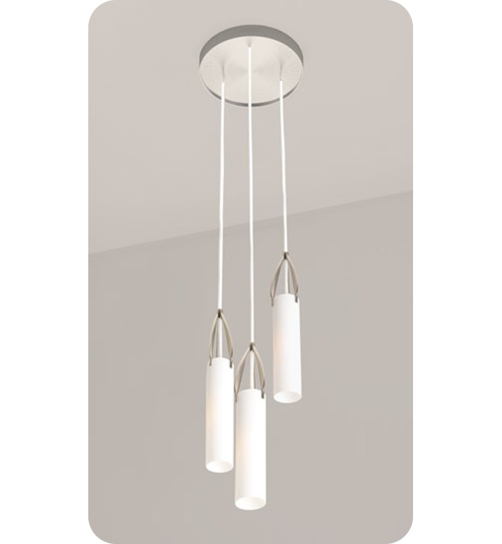 Ayre PETT-P-SO-PN-INC Petal Triple Pendant Light with Shiny Opal Glass Diffuser With Finish: Polished Nickel And Lamping Type: Incandescent