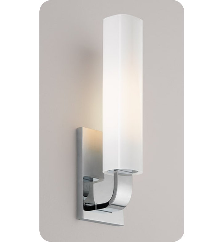 Ayre REF1-A-CS-CH-INC Reflex ADA Wall Sconce Light with Cased Shiny Opal Glass Diffuser With Finish: Polished Chrome And Lamping Type: Incandescent