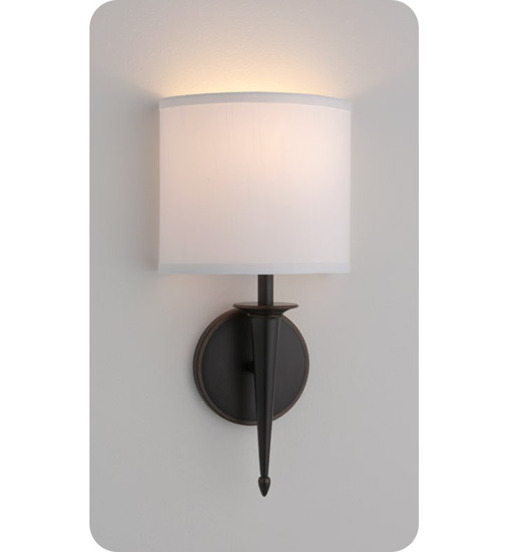 Ayre SIE1-A-WS-PN-INC Siena ADA Wall Sconce Light with White Shantung Diffuser With Finish: Polished Nickel And Lamping Type: Incandescent