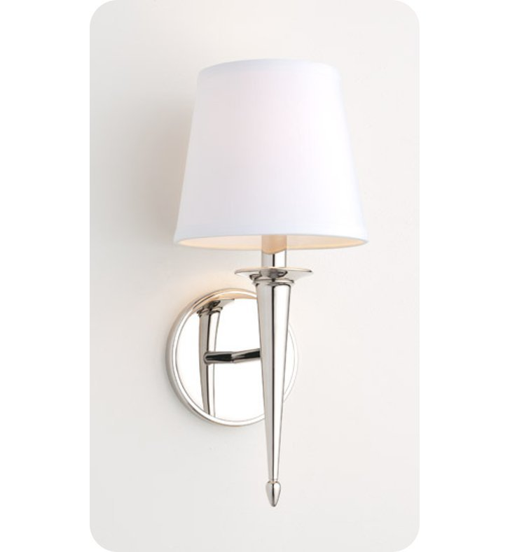 Ayre SIE2-S-WS-BN-FL Siena Wall Sconce Light with White Shantung Diffuser With Finish: Brushed Nickel And Lamping Type: Fluorescent
