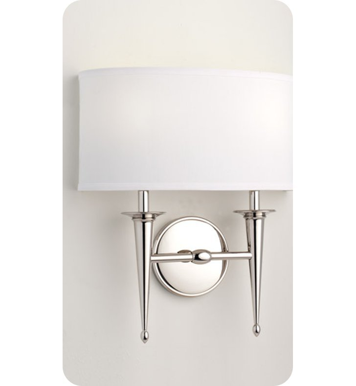 Ayre SIED-A-WS-BN-FL Siena Duo Wall Sconce Light with White Shantung Diffuser With Finish: Brushed Nickel And Lamping Type: Fluorescent