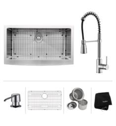 "Kraus KHF200-36-KPF1612-KSD30 35 7/8"" Single Bowl Farmhouse Stainless Steel Kitchen Sink with Commercial Style Kitchen Faucet and Soap Dispenser"