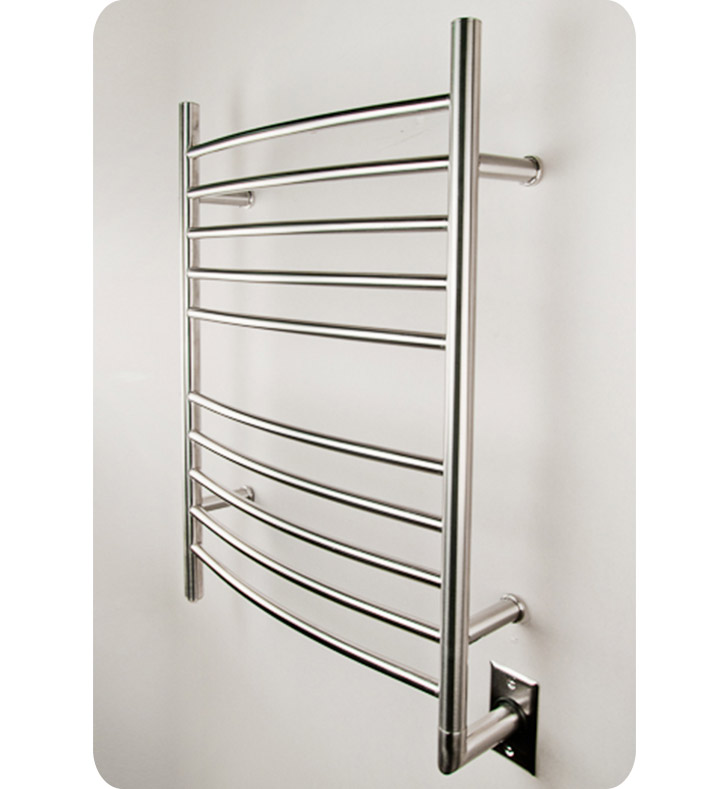Amba RWH-CB Radiant Straight or Curved Hardwired Towel Warmer With Shape: Curved And Finish: Brushed