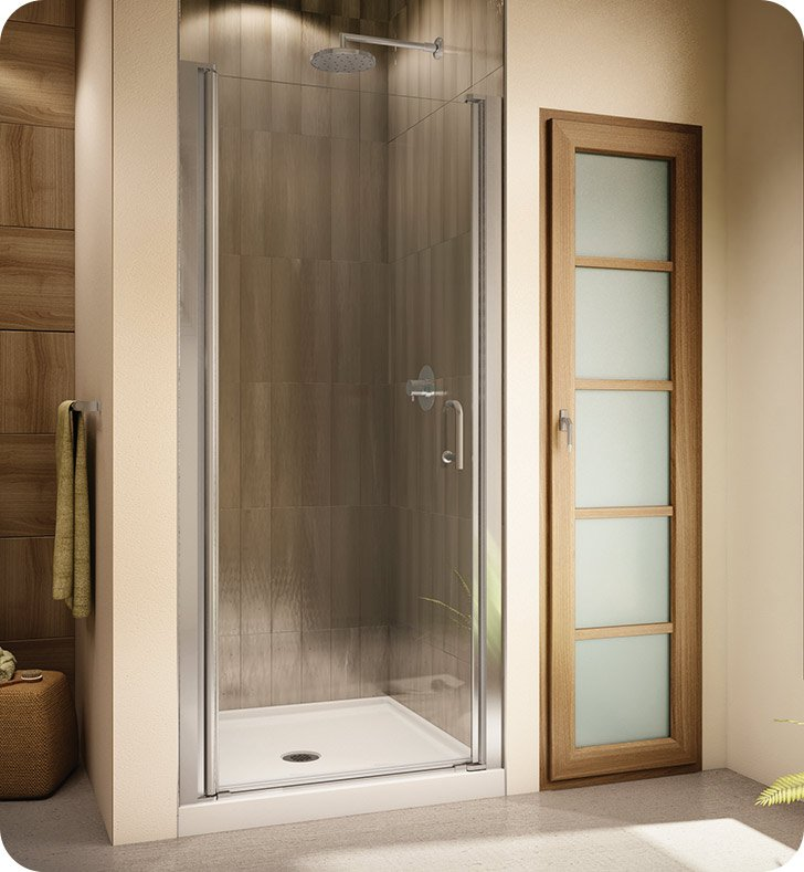 "Fleurco E3133-25-50 Banyo Sevilla Semi Frameless In Line 70 Pivot Shower Door With Dimensions: Width: 31"" to 33"" Approx. Entry: 24 1/2"" And Hardware Finish: Brushed Nickel And Glass Type: Paris Point Glass (Frosted)"