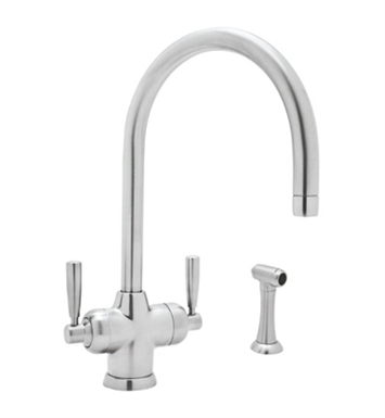 "Rohl U-1535-2 Perrin & Rowe® Contemporary Mimas 2-Lever Kitchen Faucet With ""C"" Spout & Sidespray"