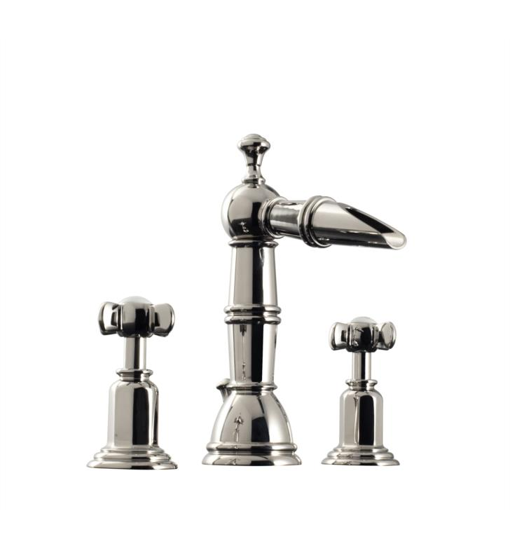 "Santec 6120ET Heritage II Widespread Lavatory with ET Handles (Includes 1/2"" Valves and 1-1/4"" Pop-Up Drain Assembly with Overflow) Spout CxC 4-7/16"", Height of Spout End from Base 7-7/8"""
