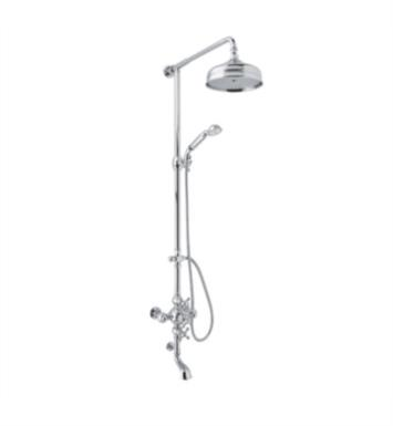 "Rohl AC414LM-STN Arcana 52 1/8"" Thermostatic Shower and Bathtub Mixer with Single Function Showerhead With Finish: Satin Nickel And Handles: Metal Levers"
