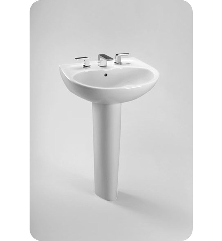 "TOTO LPT241G.8#01 Supreme® Pedestal Lavatory - with SanaGloss® With Finish: Cotton And Faucet Holes: Three Hole for 8"" Faucet Centers"