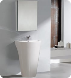 "Fresca FVN5023WH Parma 24"" White Pedestal Sink with Medicine Cabinet"