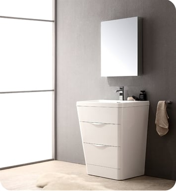 "Fresca FVN8525WH Milano 26"" Modern Bathroom Vanity in a Glossy White Finish with Medicine Cabinet and Faucet"