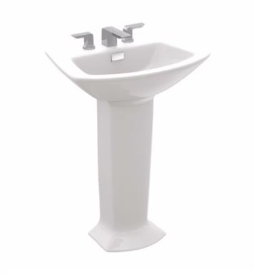 "TOTO LPT962.8#11 Soiree 25 1/8"" Vitreous China U-Shaped Pedestal Lavatory Sink With Finish: Colonial White And Faucet Holes: 8-Inch Centers"