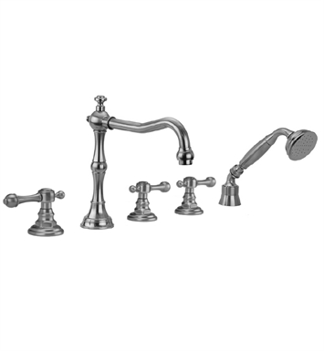 Jaclo 9930-T692-A-240-TRIM-PG Roaring 20's Roman Tub Faucet with Angle Handshower & Finial Lever Handles With Finish: Polished Gold