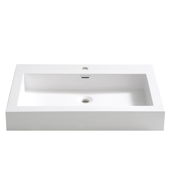 "Fresca FVS8030WH Livello 30"" White Integrated Sink with Countertop"