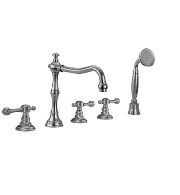 Jaclo 9930-T692-S-240-TRIM-JG Roaring 20's Roman Tub Faucet with Straight Handshower & Finial Lever Handles With Finish: Jewelers Gold