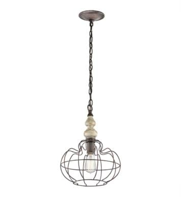 Kichler 42844DAW Getseto 1 Light Incandescent Pendant in Distressed Antique White