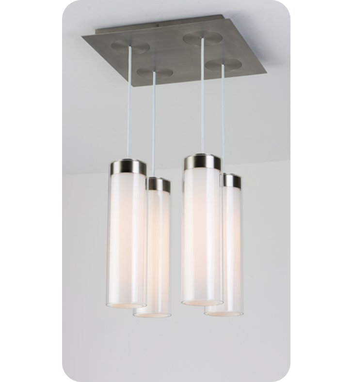 Ayre CIRPS4F-P-SO-CL-PN-FL Circ 4 Light Square Multi Pendant with Flat Canopy With Finish: Polished Nickel And Lamping Type: Fluorescent