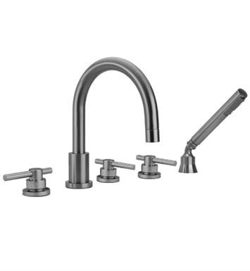 Jaclo 9980-T638-A-456-TRIM-PCH Contempo Roman Tub Faucet with Angle Handshower & Peg Handles With Finish: Polished Chrome