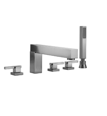 Jaclo 4404-S-470-TRIM-WH Cubix Roman Tub Faucet with Straight Handshower & Lever Handles With Finish: White
