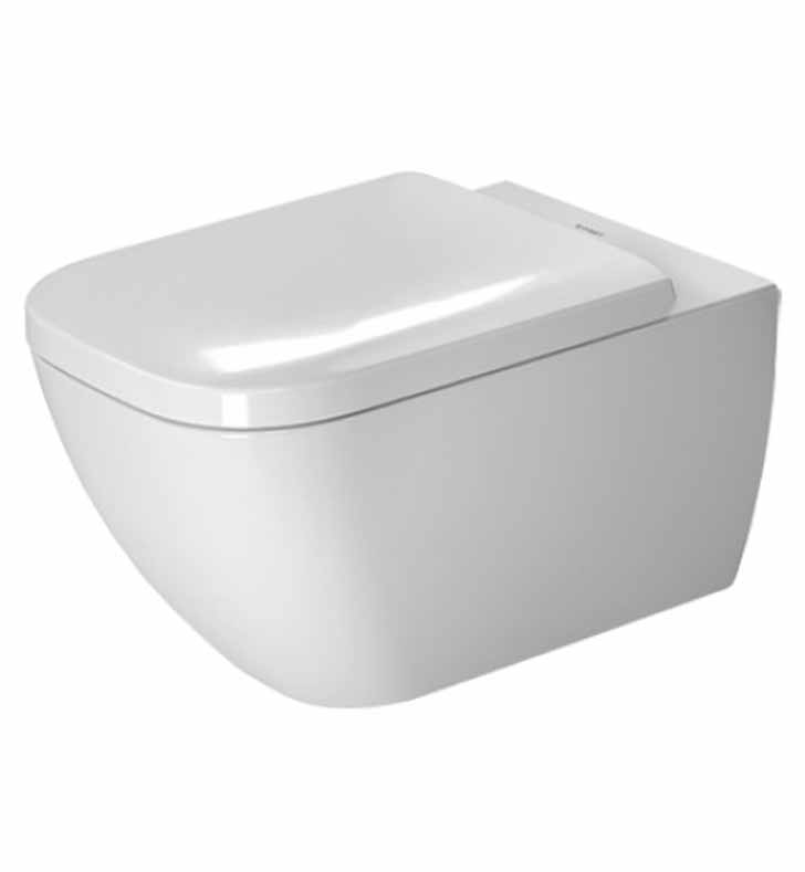 Duravit DUR-2221090092 Happy D.2 One-Piece Toilet With Toilet Tanks/Tank Systems: Duravit 111335005 Gerberit In-Wall Tank and Carrier with Dual Flush Mechanism for Washdown Toilet And Toilet Seat/Washlet: Duravit 0064590000 Happy D.2 Plastic Toilet Seat and Cover with Soft Close in White And Toilet Parts/Accessories: Duravit 0065000000 2nd Floor Series Hardware Kit for Wall Mount Toilet and Bidet in Caps White