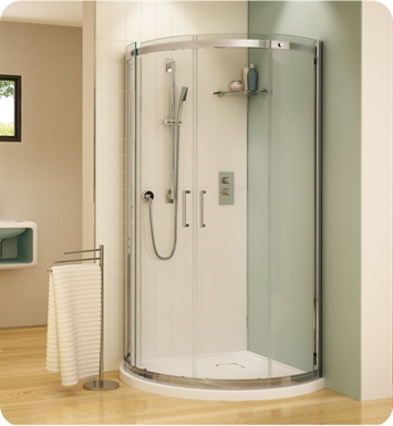 Fleurco STA32-25-40 Banyo Shuttle Arc 32 Semi Frameless Curved Sliding Doors With Hardware Finish: Brushed Nickel And Glass Type: Clear Glass