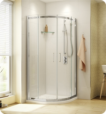 Fleurco STR40-11-40 Banyo Shuttle Round 40 Semi Frameless Curved Sliding Doors With Hardware Finish: Bright Chrome And Glass Type: Clear Glass