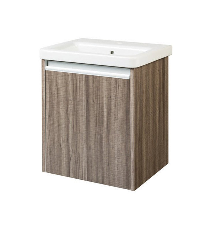 "Ryvyr V-TYNE-50MSA Tyne 18-1/4"" Modern Bathroom Vanity in Sawcut Ash Finish With Sink: Ryvyr Tyne Fine Fireclay Integral Sink Top"