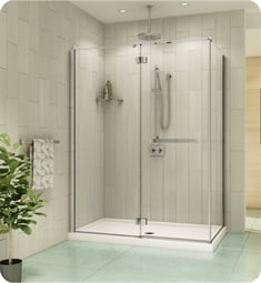 Fleurco PJR5936 Platinum Pura 2 Sided 60 Door and Fixed Panel with Return Panel and Glass to Glass Hinges