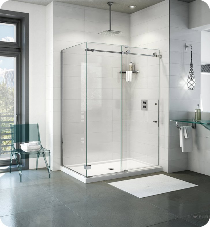 "Fleurco K2W4532-35-40L Kinetik 2-Sided In-Line 48 Shower Door and Fixed Panel with Return Panel (Closes Against Wall) With Return Panel: 32"" Return Panel And Hardware Finish: Brushed Stainless And Glass Type: Clear Glass And Door Direction: Left"