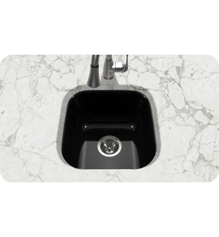 Houzer Pcb 1750 Bl Undermount Square Bar Prep Kitchen Sink In Black Finish From The Porcela Series