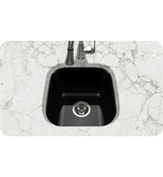Houzer PCB-1750-BL Undermount Square Bar/Prep Kitchen Sink in Black Finish from the Porcela Series