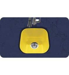 Houzer PCB-1750-LE Undermount Square Bar/Prep Kitchen Sink in Lemon Finish from the Porcela Series