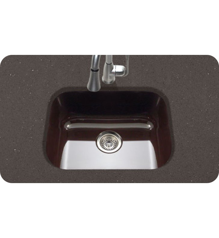 Houzer PCS 2500 ES Undermount Single Bowl Kitchen Sink In Espresso Finish  From The Porcela Series