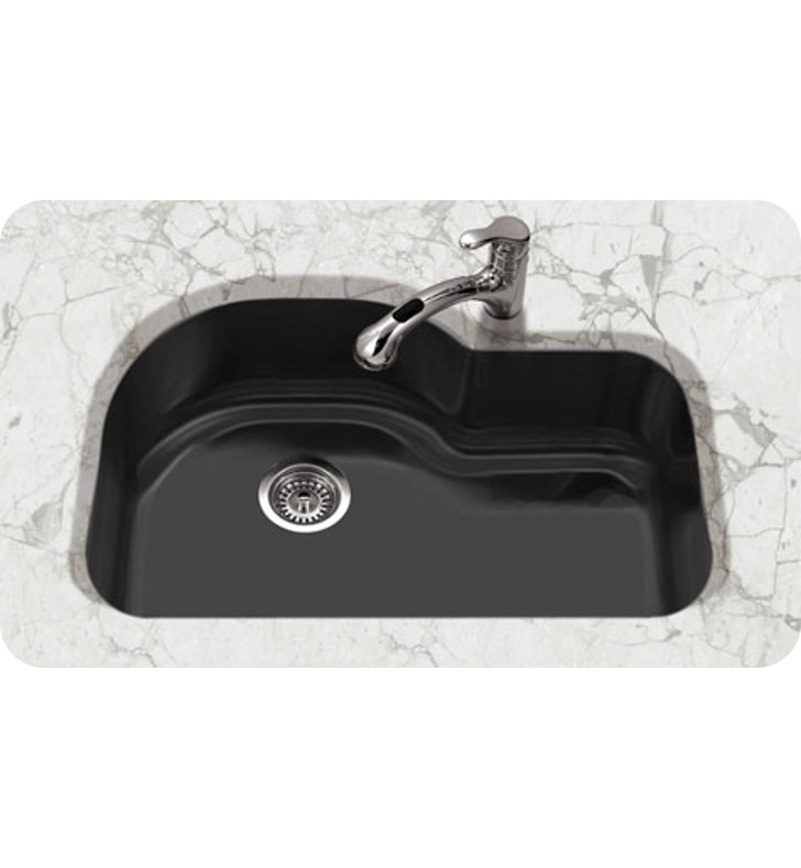 Houzer Pch 3700 Bl Undermount Offset Single Bowl Kitchen Sink In Black Finish From The Porcela Series