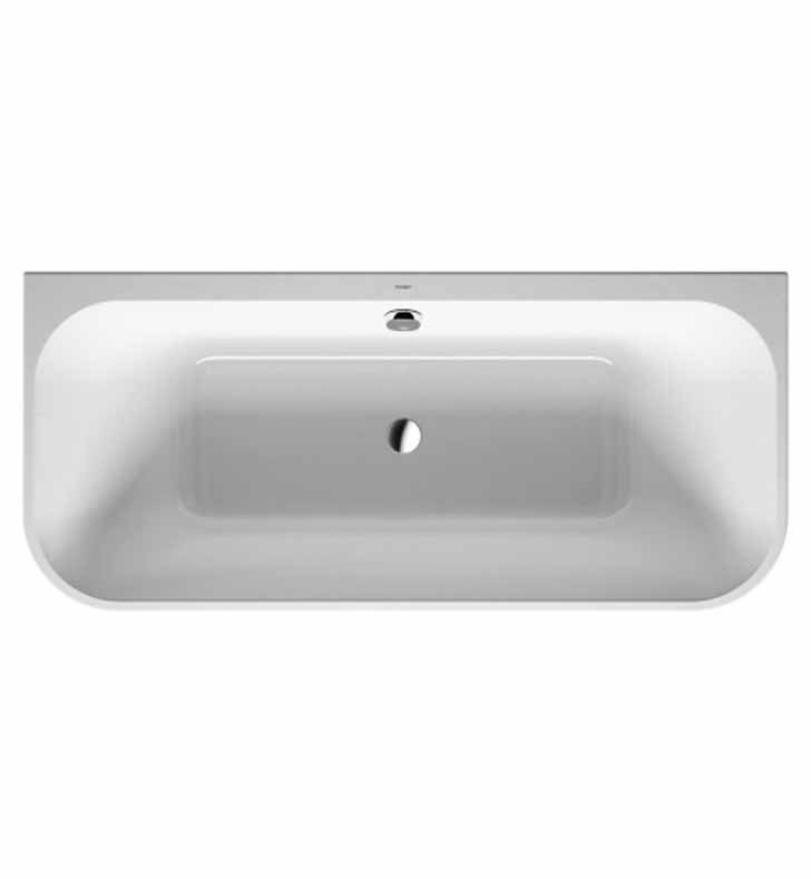 Duravit 70031800 Happy D Back- to Wall Bathtub with Integrated Acrylic Panel and Support Frame
