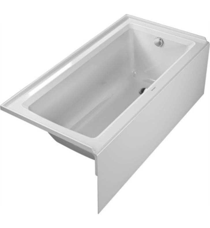 "Duravit 700355000000091 Architec 60"" Rectangular Alcove Acrylic Soaking Bathtub with Right Drain in White"